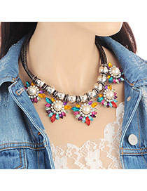 Fashion Multi-color Pearls&diamond Decorated Color Matching Necklace