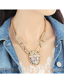 Fashion Multi-color Water Drop Shape Diamond Decorated Flower Shape Necklace