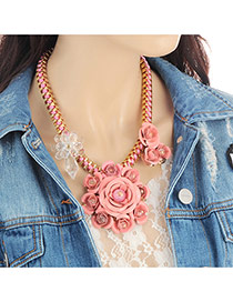 Fashion Pink Flower Decorated Color Matching Design Necklace