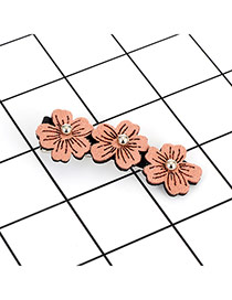 Fashion Pink Three Flowers Decorated Pure Color Hair Pin