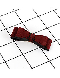 Fashion Claret Red Bowknot Decorated Pure Color Simple Hair Pin