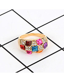 Fashion Multi-color Square Shape Diamond Decorated Color Matching Simple Ring