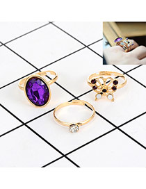 Fashion Purple Diamond&butterfly Decorated Color Matching Simple Ring(3pc)