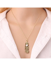 Fashion White Leaf Pendant Decorated Simple Long Necklace