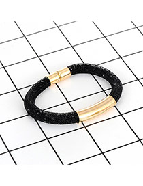 Fashion Black Diamond Decorated Pure Color Simple Magnetism Bracelet