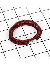 Fashion Red Pure Color Decorated Multi-layer Design Bracelet
