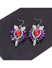 Fashion Purple Geometric Shape Diamond Decorared Color Matching Earrings