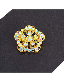 Fashion Multi-color Flower Decorated Hollow Out Simple Brooch