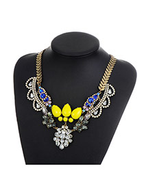 Fashion Yellow Water Drop Diamond Decorated Hollow Out Simple Necklace