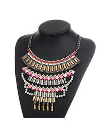 Fashion Multi-color Sqaure Shape Diamond Decorated Multi-layer Simple Necklace