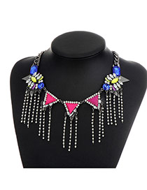 Fashion Multi-color Triangle Shape Diamond Decorated Tassel Design Necklace