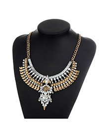 Fashion Silver Color Water Drop Diamond Decorated Hollow Out Simple Necklace