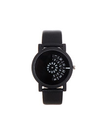 Fashion Black Pure Color Decorated Round Dail Simple Watch