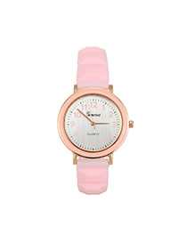 Fashion Pink Color Matching Decorated Round Dail Simple Watch
