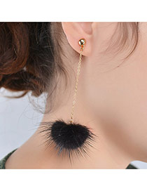 Fashion Black Earrings Decorated With Fuzzy Ball