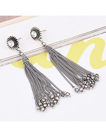 Retro Silver Color Round Shape Decorated Long Tassel Design Simple Earrings