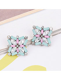Lovely Multi-color Geometric Shape Diamond Decorated Simle Earrings