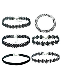Fahion Black Hollow Out Decorated Pure Color Design Choker (6 Pieces)