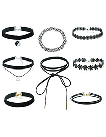 Fahion Black Pure Color Decorated Double Layer Jewelrt Sets (8 Pieces)