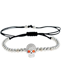 Personality Silver Color Skull Shape Decorated Simple Pure Color Design Bracelet
