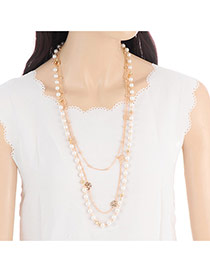 Bohemia Gold Color Hollow Out Rose Decorated Multilayer Necklace