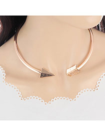 Fashion Gold Color Arrow Design Pure Color Decorated Simple Opening Necklace