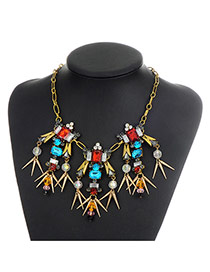 Vintage Multi-color Metal Bullet Decorated Simple Short Chain Necklace