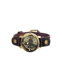 Personality Dark Coffee Metal Motorcycle Shape Decorated Simple Wrist Watch