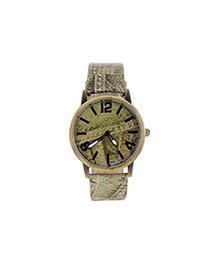 Personality Green Round Shape Dial Plate Simple Wrist Watch