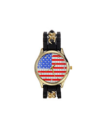 Fashion Black National Flag Decorated Simple Wrist Watch