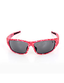 Personality Plum Red Leopard Print Decorated Simple Square Shape Design Sunglasses