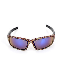 Personality Green+blue Leopard Print Decorated Simple Square Shape Design Sunglasses
