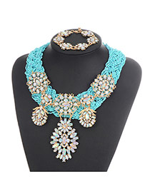 Bohemia Blue Oval Shape Diamond Decorated Simple Hand-woven Jewelry Sets