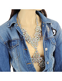 Exaggerate Silver Color Geometric Shape Gemstone Decorated Simple Body Chain
