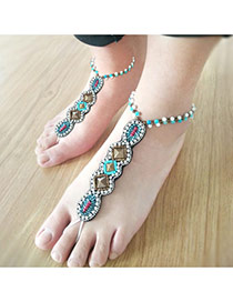 Personality White&green Metal Square Shape Decorated Simple Long Chain Ankle
