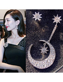 Luxury Silver Color Moon&star Decorated Round Shape Design Earrings