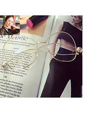 Fashion Gold Color Pure Color Decorated Simple Square Shape Glasses