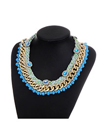 Fashion Blue Diamond&beads Decorated Color Matching Simple Necklace