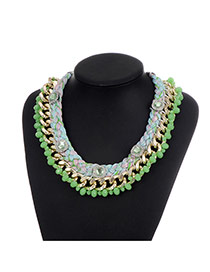 Fashion Green Diamond&beads Decorated Color Matching Simple Necklace