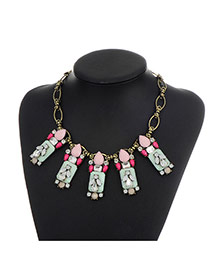 Fashion Pink Square Shape Diamond Decorated Color Matching Necklace
