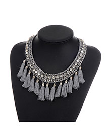 Fashion Gray Long Tassel Pendant Decorated Pure Color Simple Necklace