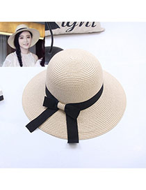 Fashion Khaki Bowknot Decorated Simple Pure Color Hat