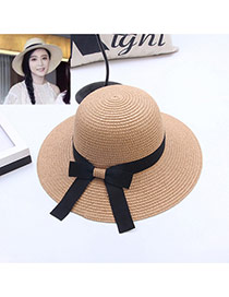 Fashion Coffee Bowknot Decorated Simple Pure Color Hat