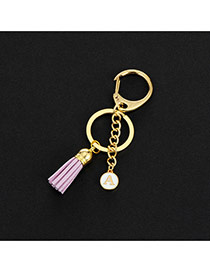 Fashion Purple Metal Round Shape &tassel Decorated Simple Key Ring
