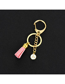 Fashion Pink Metal Round Shape &tassel Decorated Simple Key Ring
