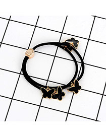 Fashion Black Buterfly Pendant Decorated Double Layer Hair Band