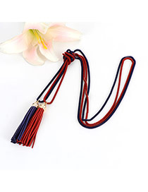 Bohemia Red+blue Double Layer Tassel Decorated Simple Long Chain Necklace