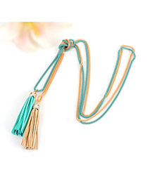 Bohemia Blue+gold Color Double Layer Tassel Decorated Simple Long Chain Necklace