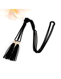 Bohemia Black Double Layer Tassel Decorated Simple Long Chain Necklace