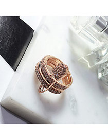Personality Rose Gold Pin Shape Decorated Simple Pure Color Ring